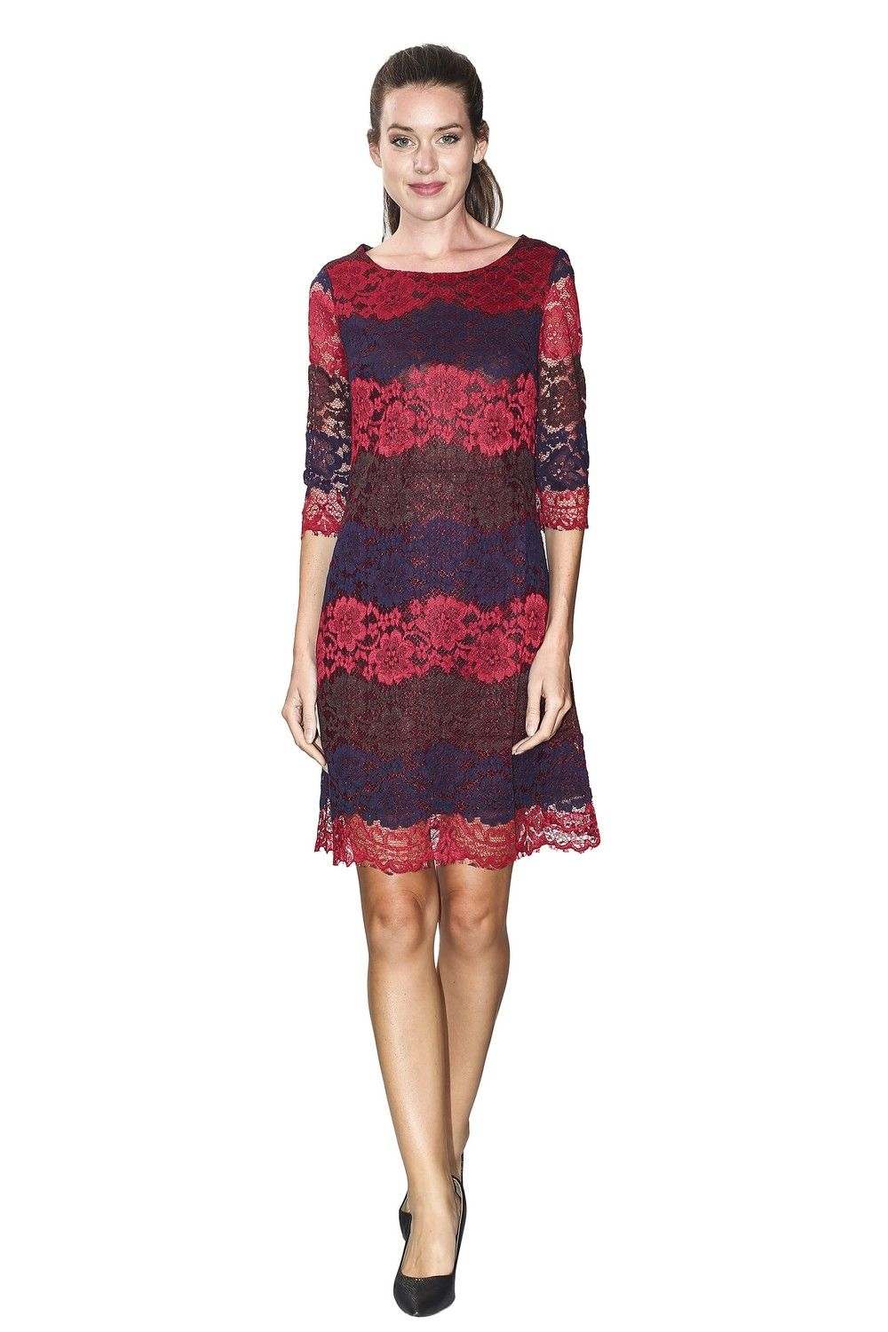 Assuili Boat Neck 3/4 Sleeve Lace Dress in Blue