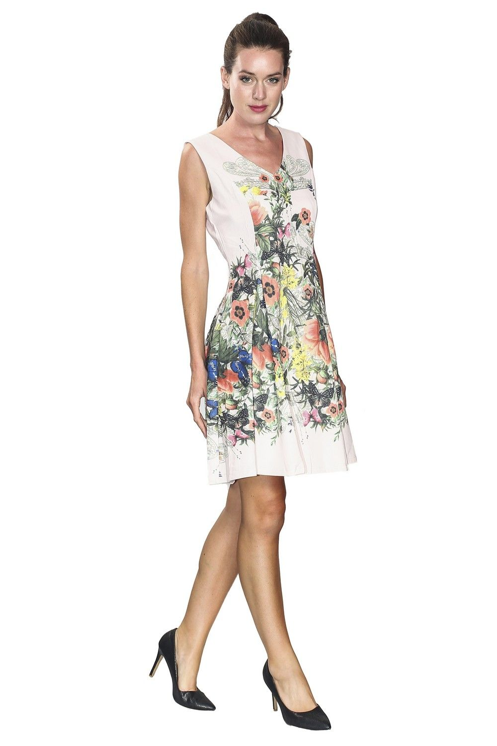 Assuili V-neck Floral A-Line Dress in Pink
