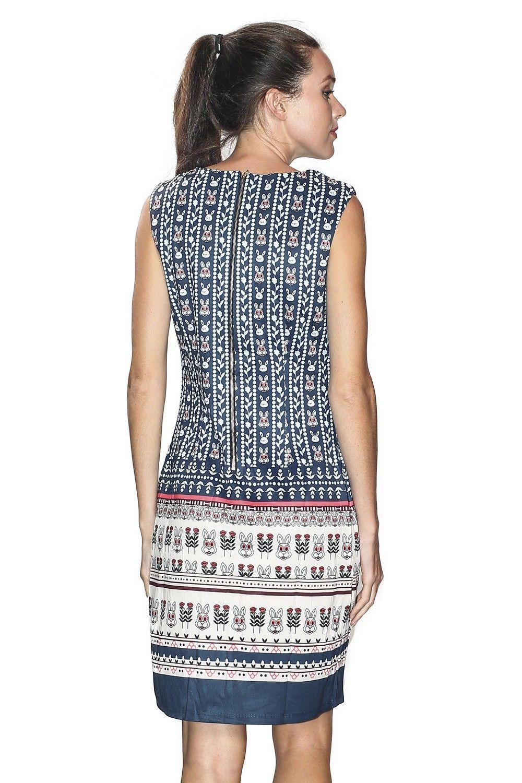 Assuili Boat Neck Sleeveless Printed Dress in Navy