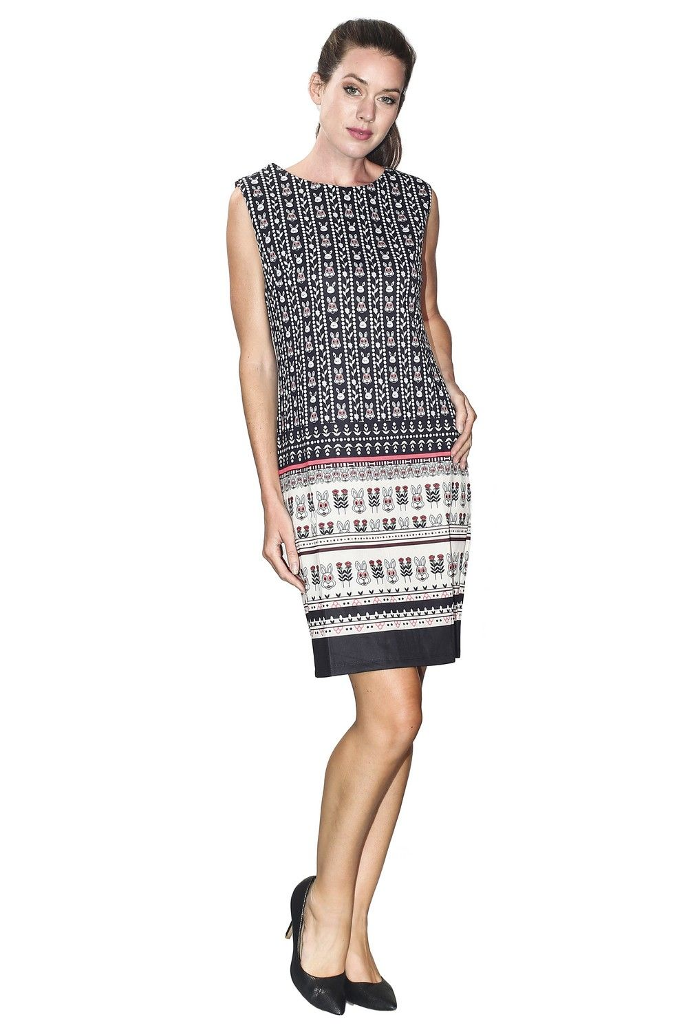 Assuili Boat Neck Sleeveless Printed Dress in Black