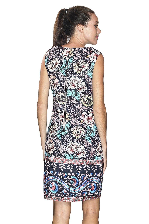 Assuili Boat Neck Sleeveless Printed Dress in Blue