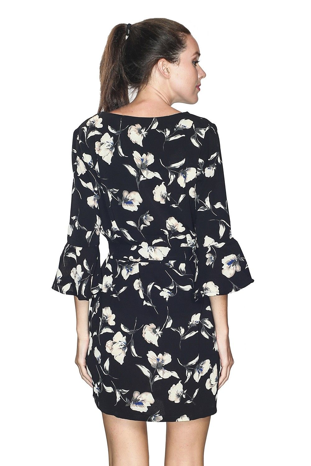 Assuili Fluted Sleeve Floral Print Dress in Black
