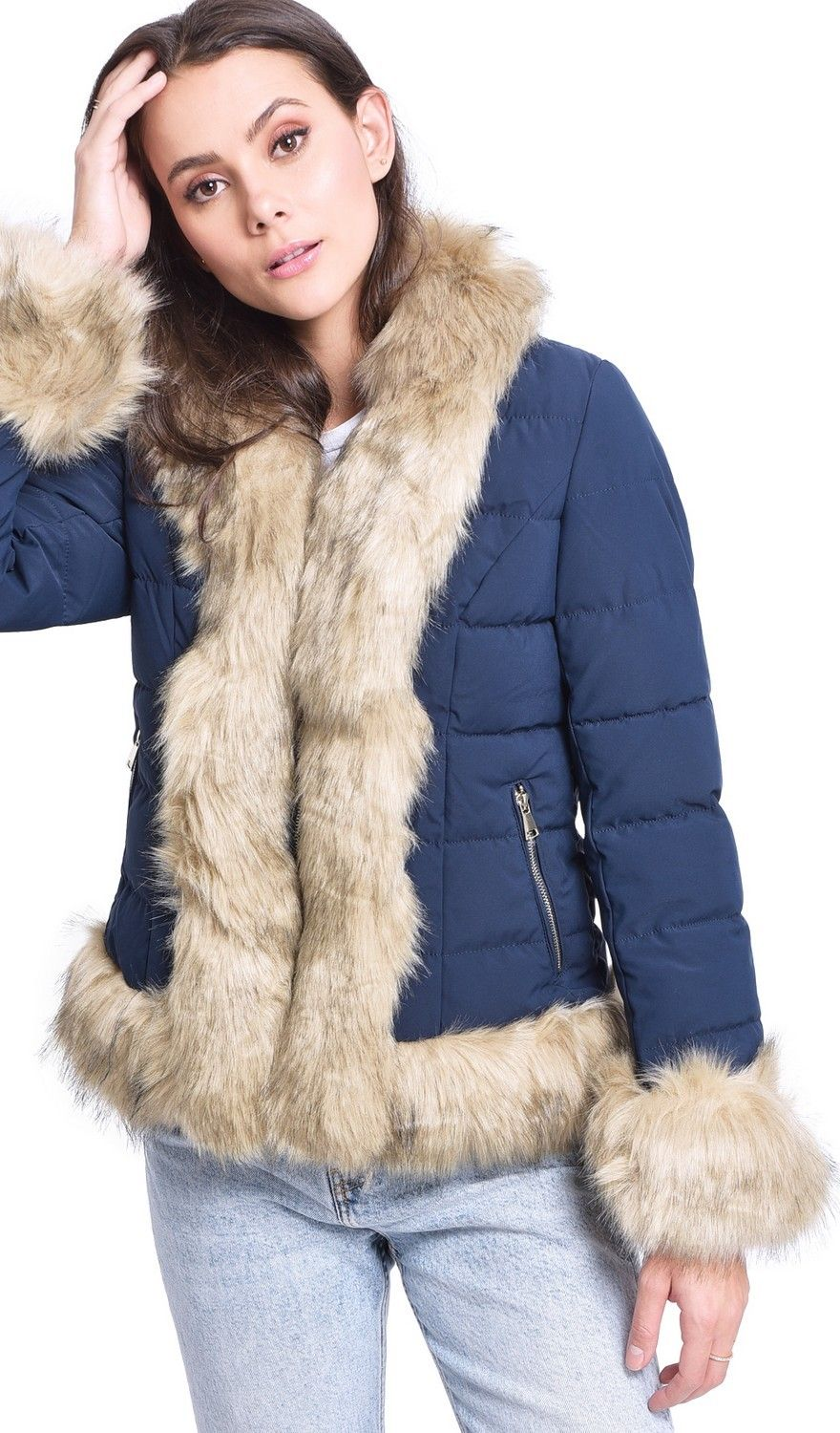 Assuili Down Jacket with Faux FurTrim in Navy
