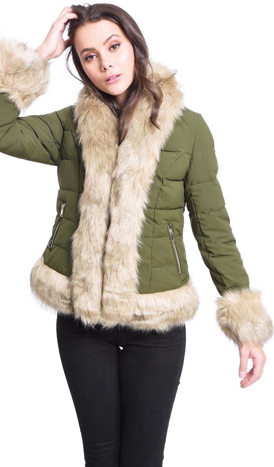 Assuili Down Jacket with Faux FurTrim in Khaki