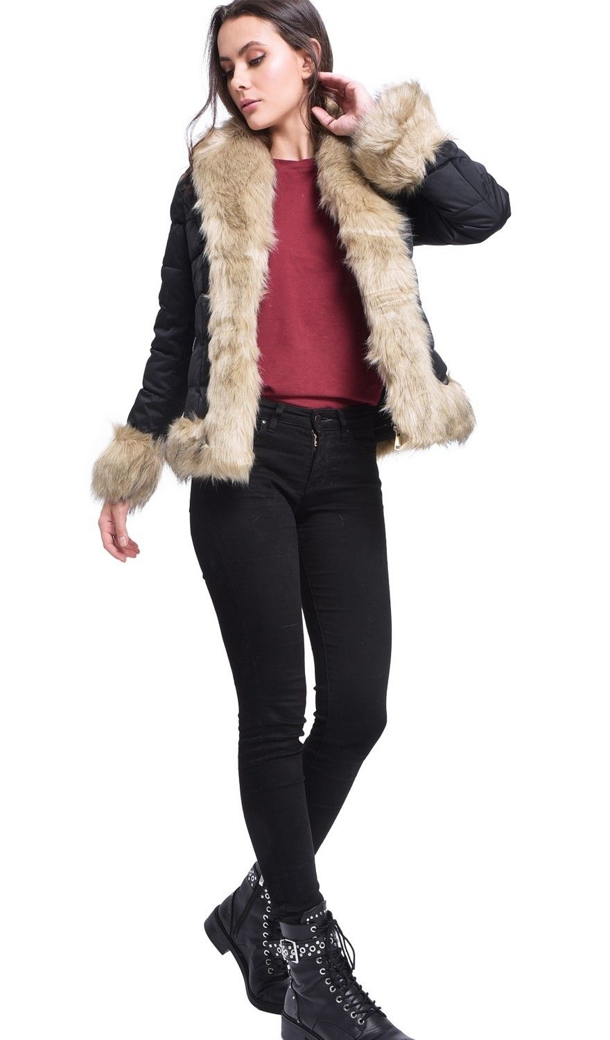 Assuili Down Jacket with Faux FurTrim in Black