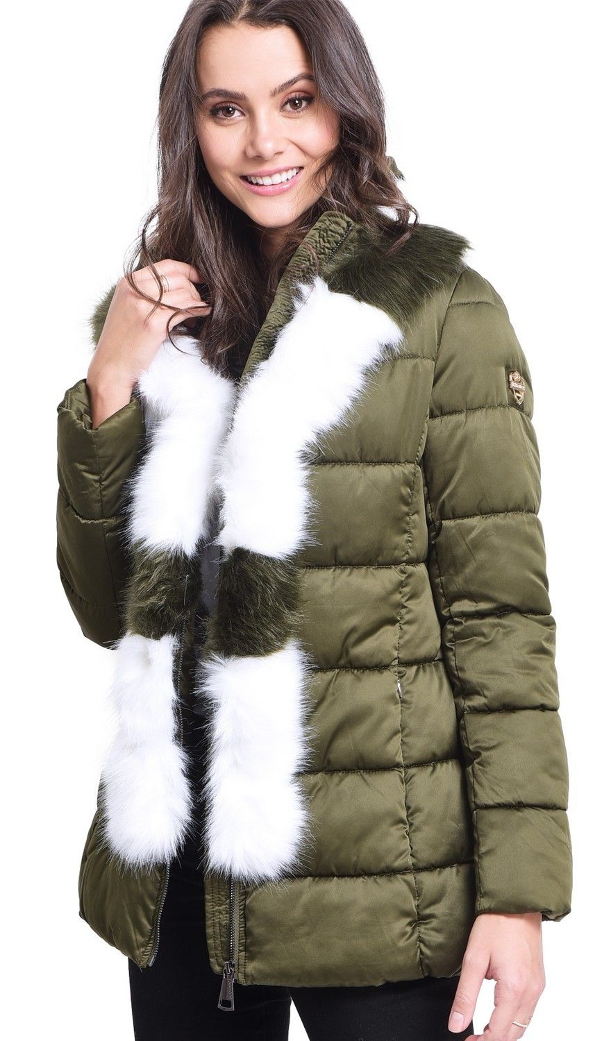 Assuili Mid-Length Puffer Jacket with Faux Fur Panel in Khaki