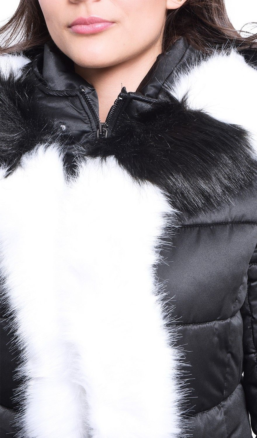 Assuili Mid-Length Puffer Jacket with Faux Fur Panel in Black