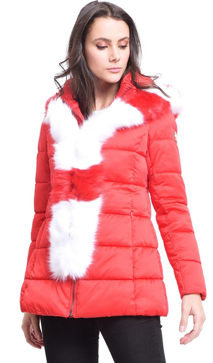 Assuili Mid-Length Puffer Jacket with Faux Fur Panel in Red