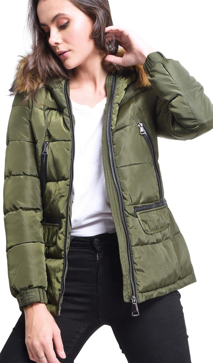Assuili Down Jacket with Faux Fur Panel and Zipped Pockets in Khaki