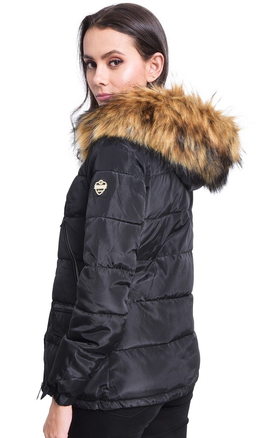 Assuili Down Jacket with Faux Fur Panel and Zipped Pockets in Black