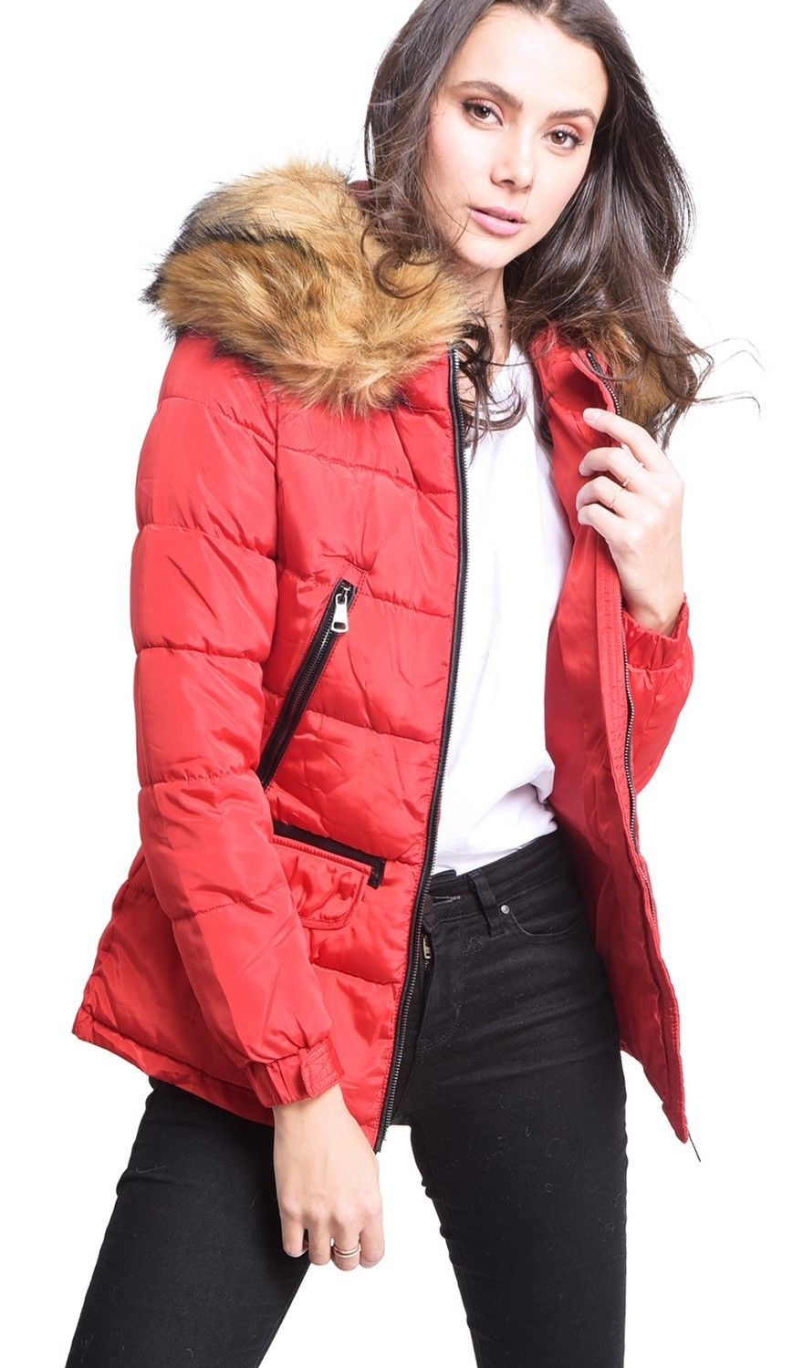 Assuili Down Jacket with Faux Fur Panel and Zipped Pockets in Red