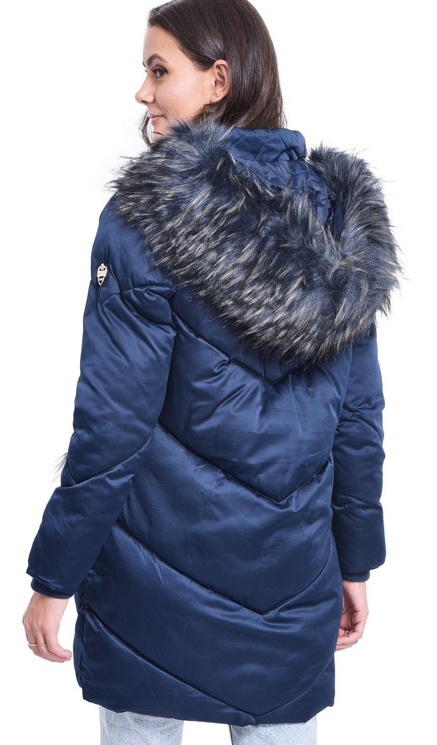 Assuili Long Puffer Jacket with Faux Fur Panel in Navy