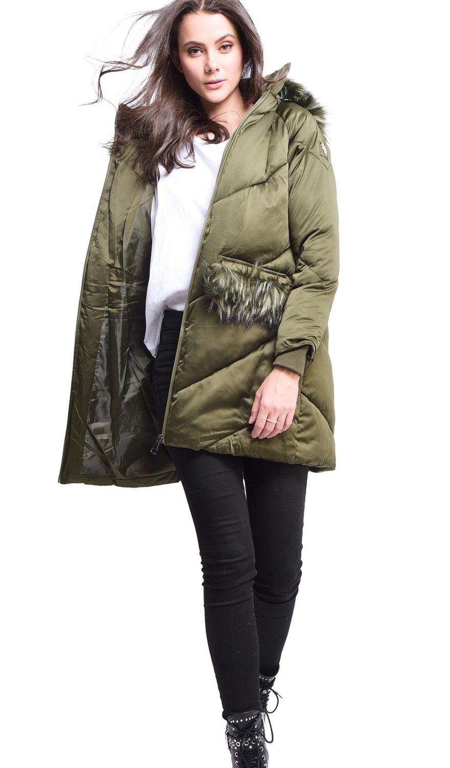 Assuili Long Puffer Jacket with Faux Fur Panel in Khaki