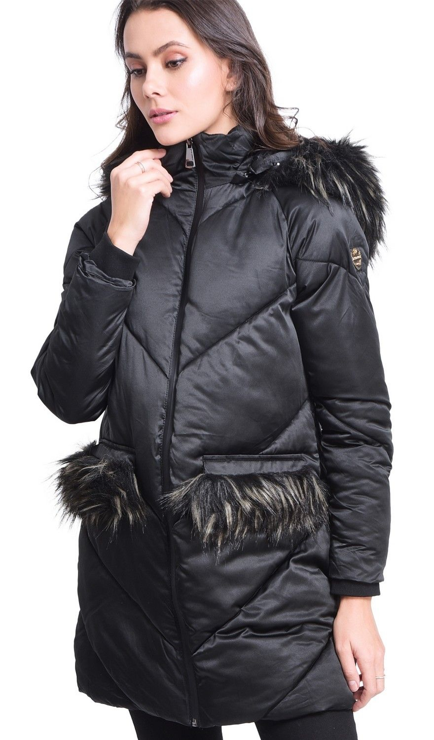Assuili Long Puffer Jacket with Faux Fur Panel in Black