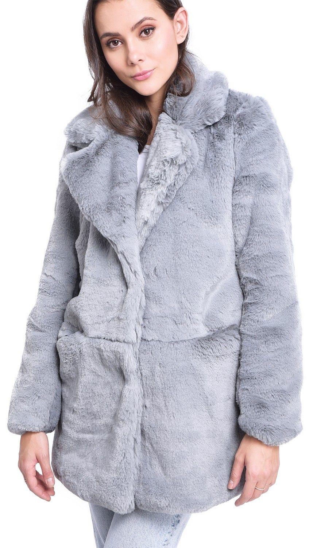 Assuili Faux Fur Coat in Light Grey