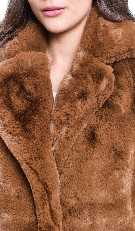 Assuili Faux Fur Coat in Brown