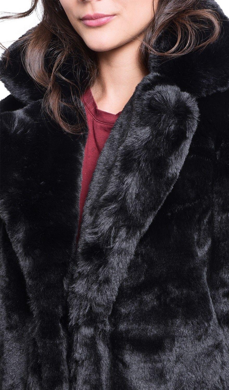 Assuili Faux Fur Coat in Black