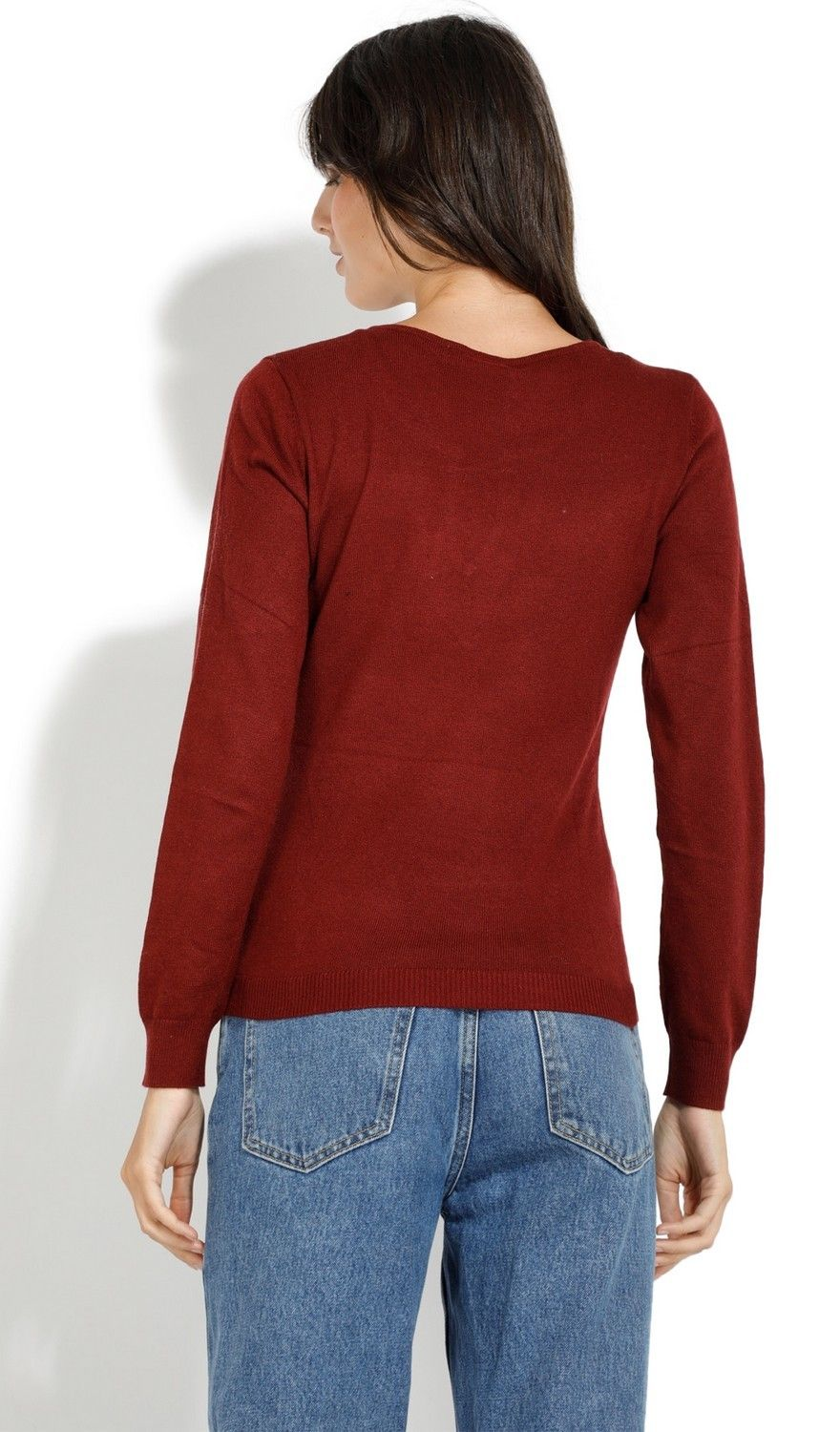 Assuili Open Collar Long Sleeve Sweater with Button in Maroon