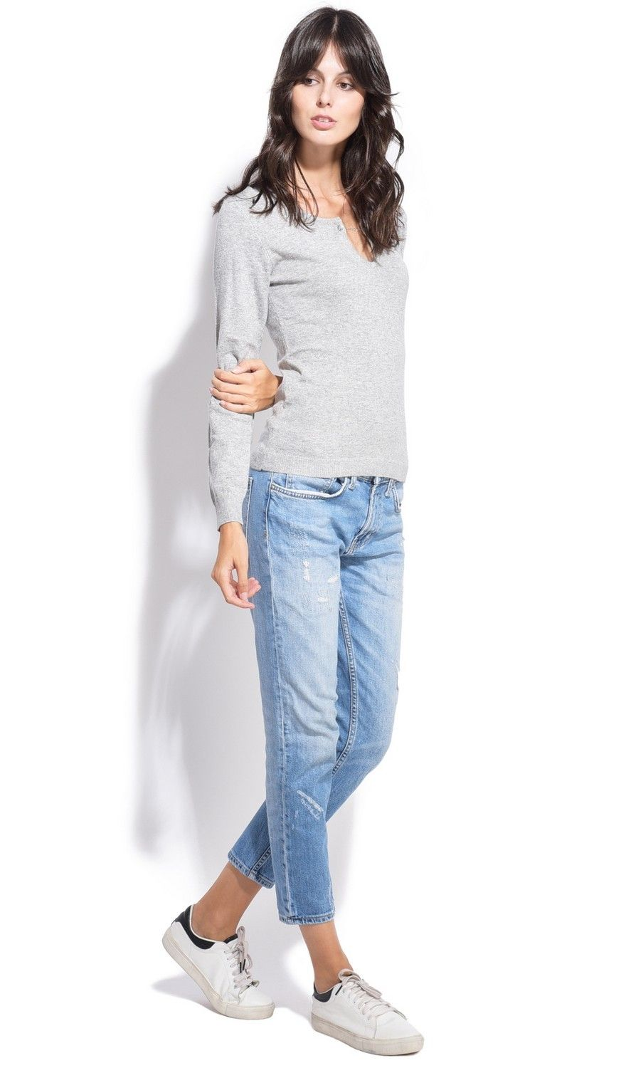 Assuili Open Collar Long Sleeve Sweater with Button in Light Grey