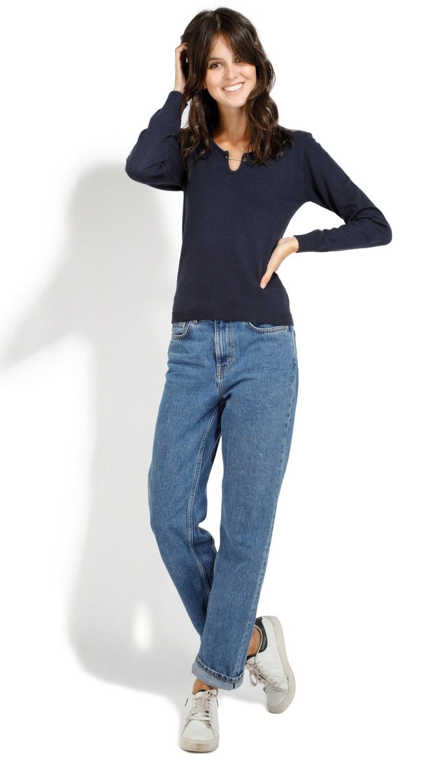 Assuili Open Collar Long Sleeve Sweater with Button in Navy