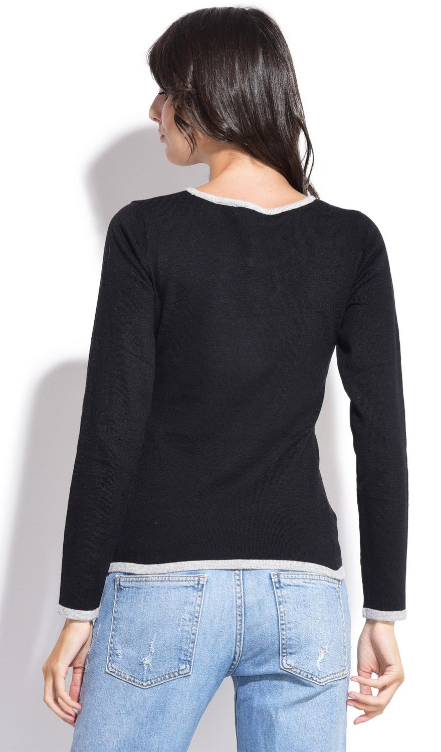 Assuili Round Neck Two-tone Butterfly Knot Sweater in Black