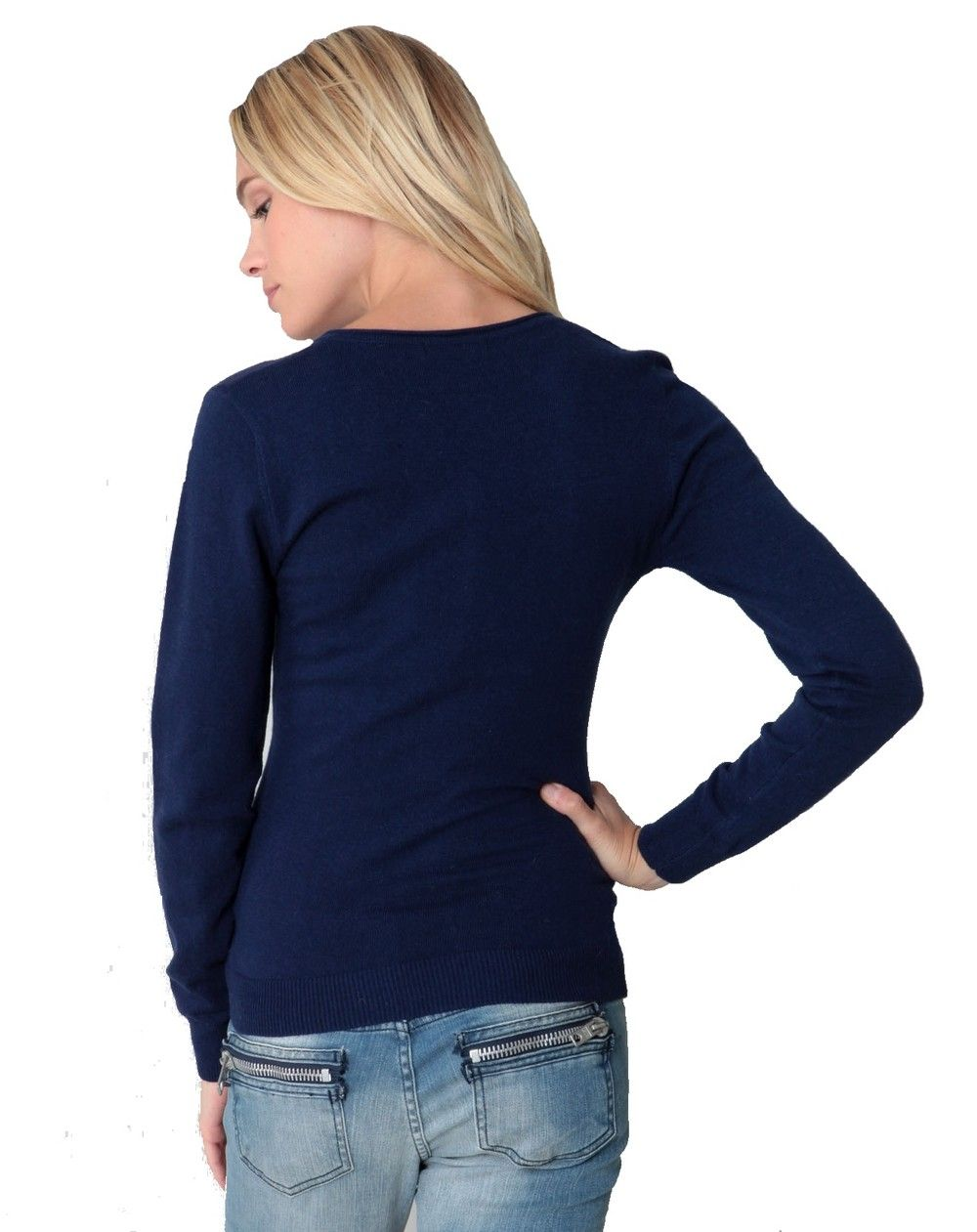 Assuili Tunisian Neck Sweater with Rolled Buttons in Navy