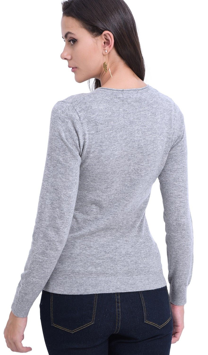 Assuili Tunisian Neck Sweater with Rolled Buttons in Light Grey