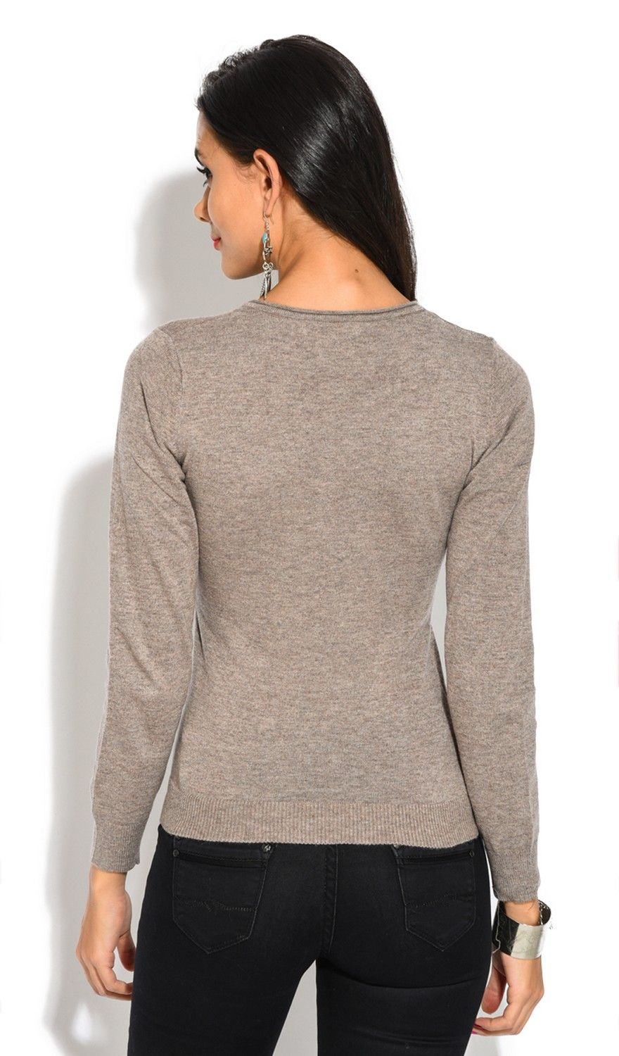 Assuili Tunisian Neck Sweater with Rolled Buttons in Beige