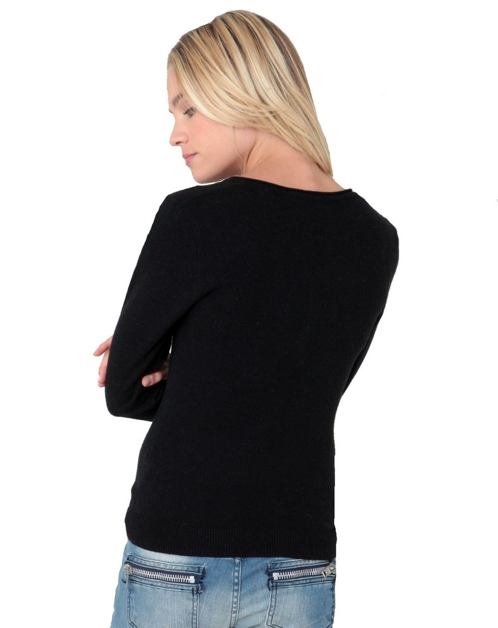 Assuili Tunisian Neck Sweater with Rolled Buttons in Black