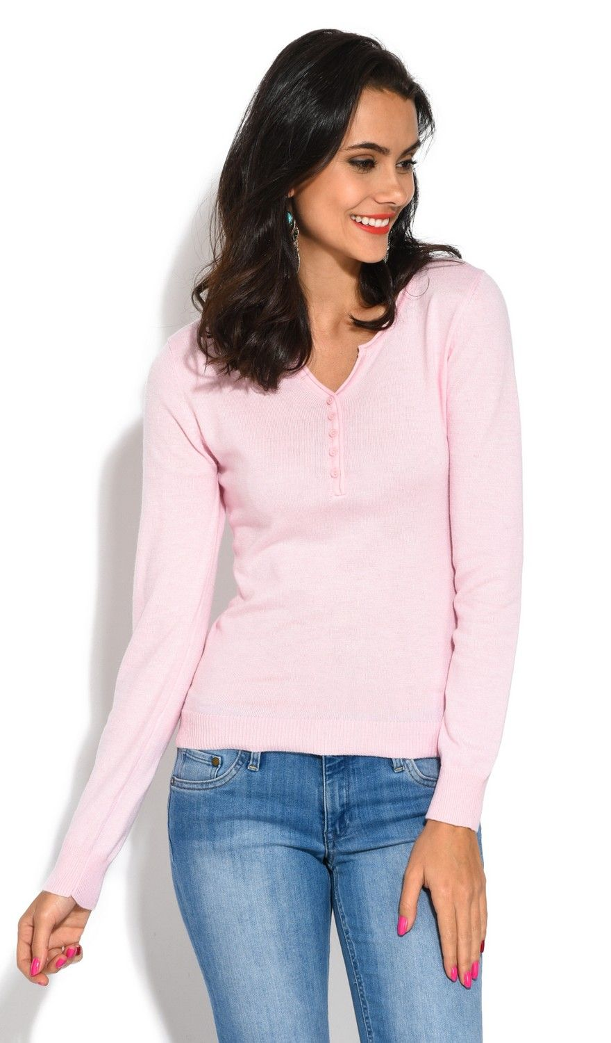 Assuili Tunisian Neck Sweater with Rolled Buttons in Pink