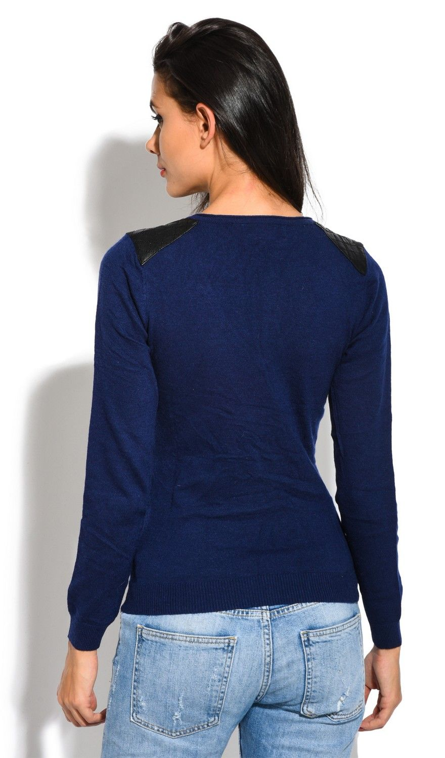 Assuili V-Neck Long Sleeve Zip + Suede Shoulder Sweater in Navy
