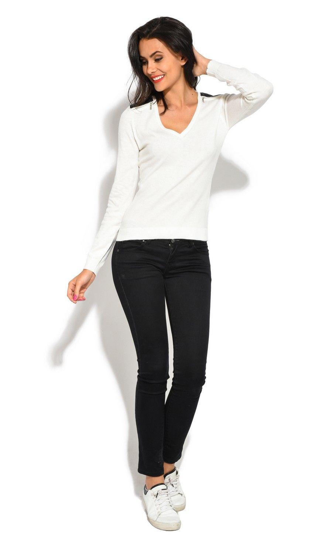 Assuili V-Neck Long Sleeve Zip + Suede Shoulder Sweater in Natural