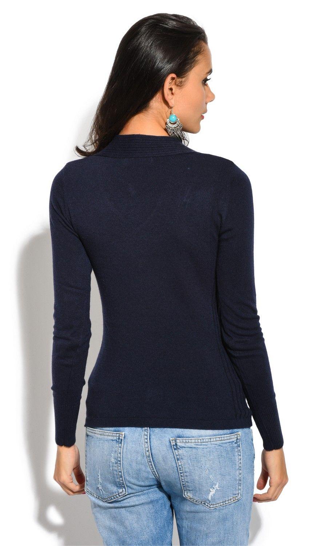 Assuili V-Neck Long Sleeve Zip Detail Sweater in Navy