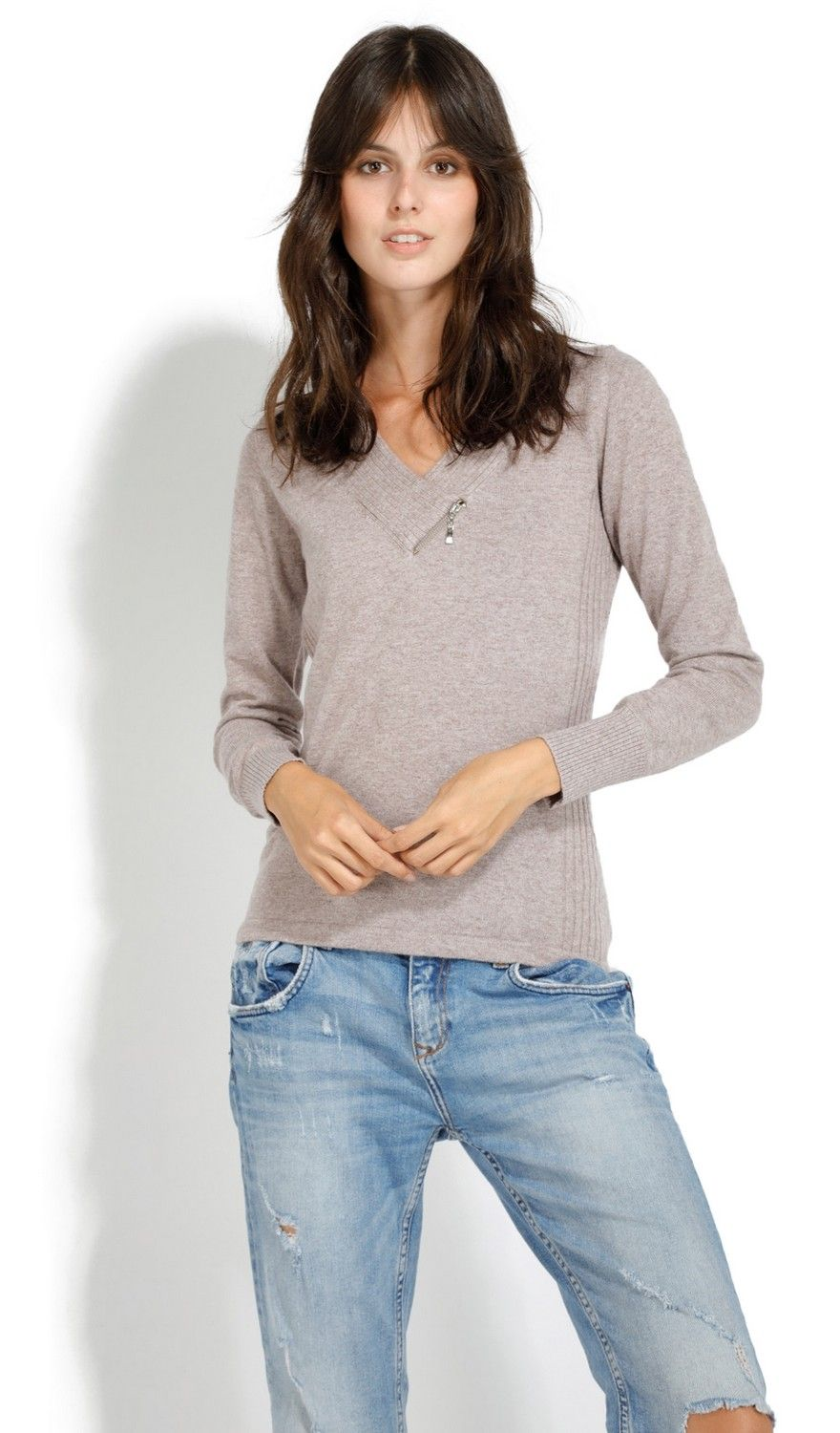 Assuili V-Neck Long Sleeve Zip Detail Sweater in Beige