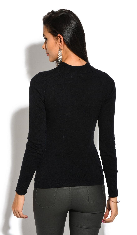 Assuili V-Neck Long Sleeve Zip Detail Sweater in Black