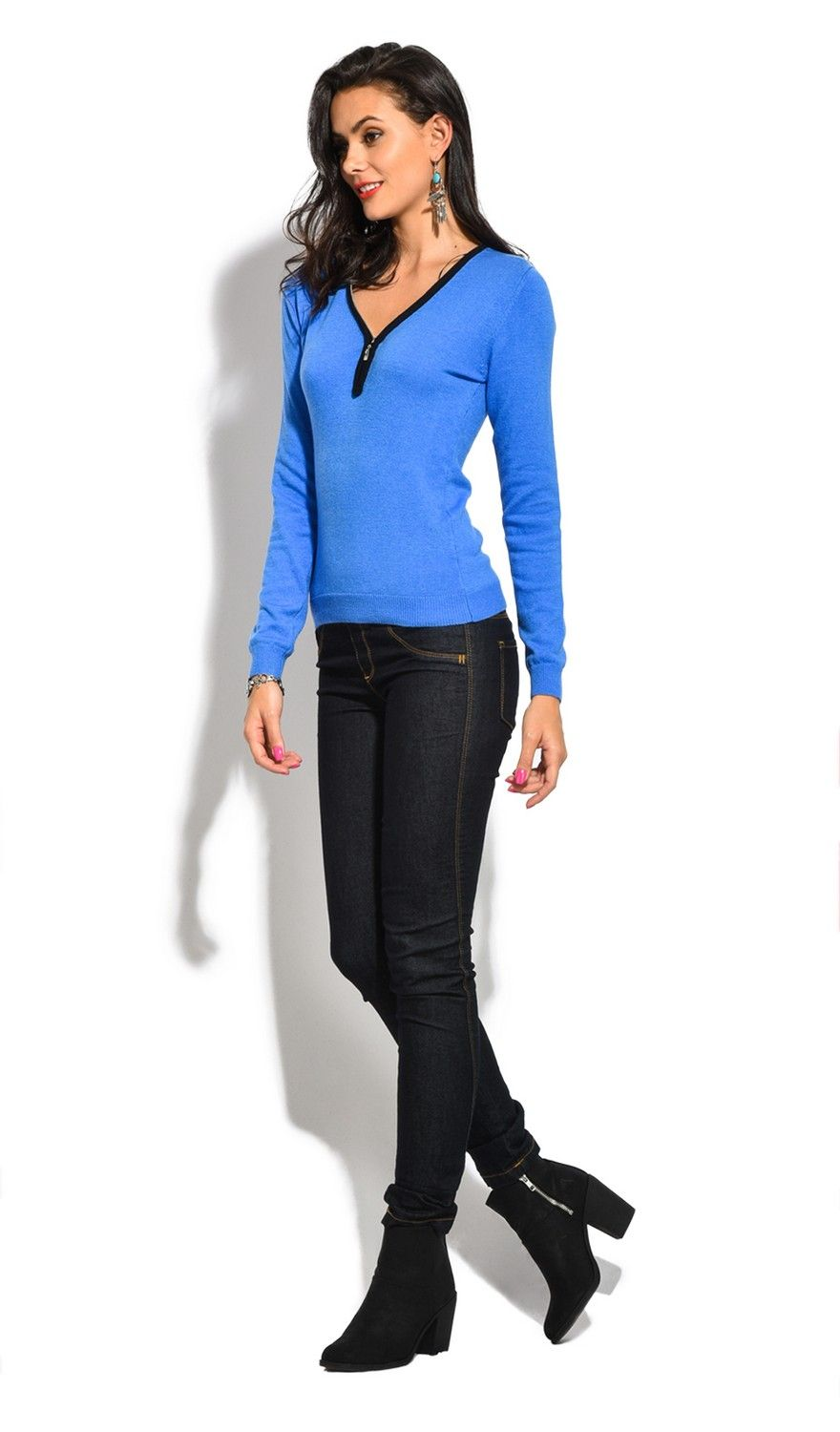 Assuili V-Neck Long Sleeve Two-tone Zip Detail Sweater in Blue