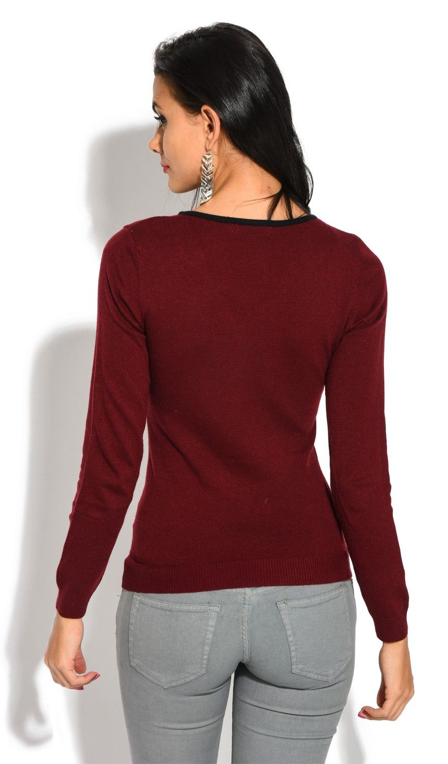 Assuili V-Neck Long Sleeve Two-tone Zip Detail Sweater in Maroon