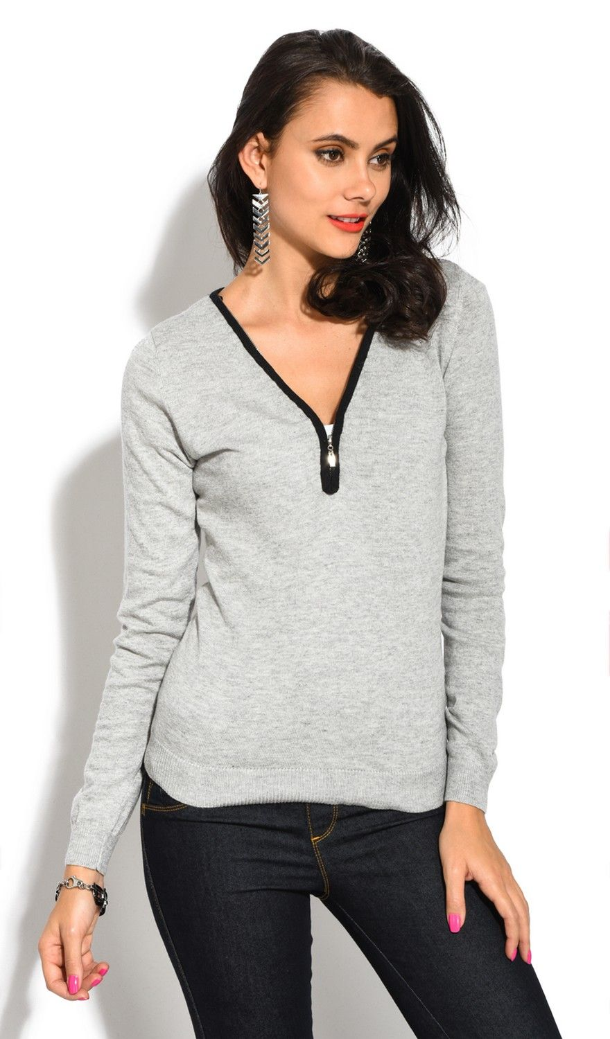 Assuili V-Neck Long Sleeve Two-tone Zip Detail Sweater in Light Grey
