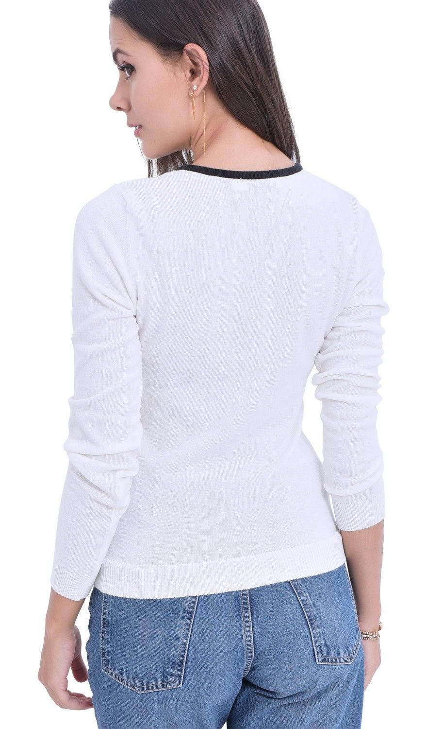 Assuili V-Neck Long Sleeve Two-tone Zip Detail Sweater in Natural