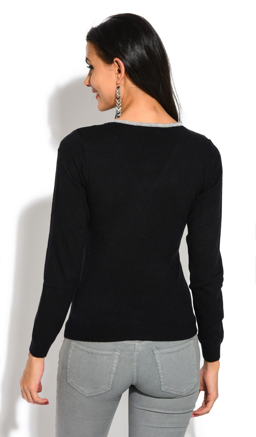 Assuili V-Neck Long Sleeve Two-tone Zip Detail Sweater in Black