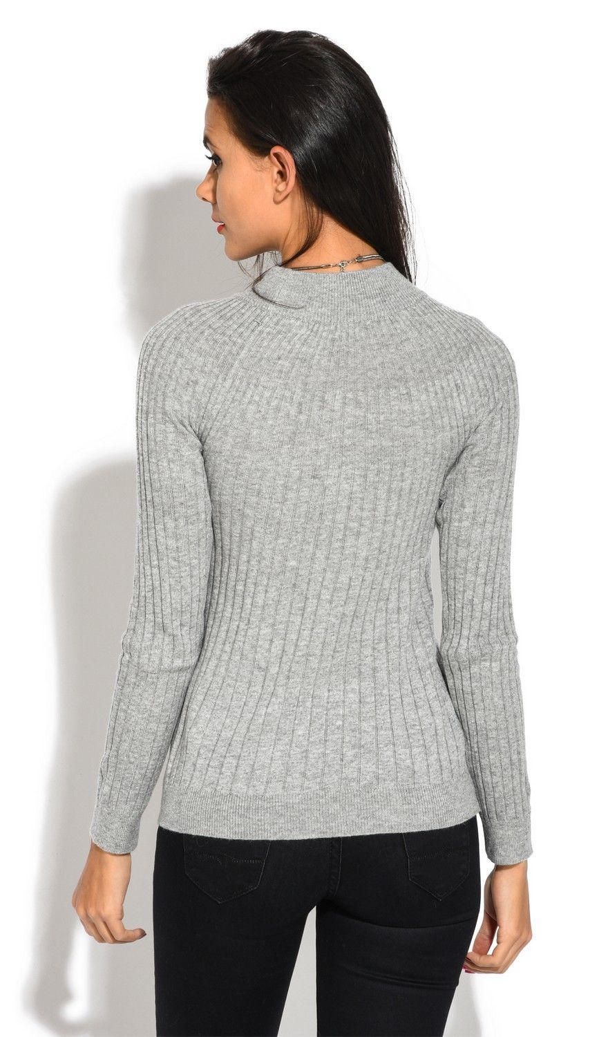 Assuili Funnel Neck Ribbed Sweater in Grey