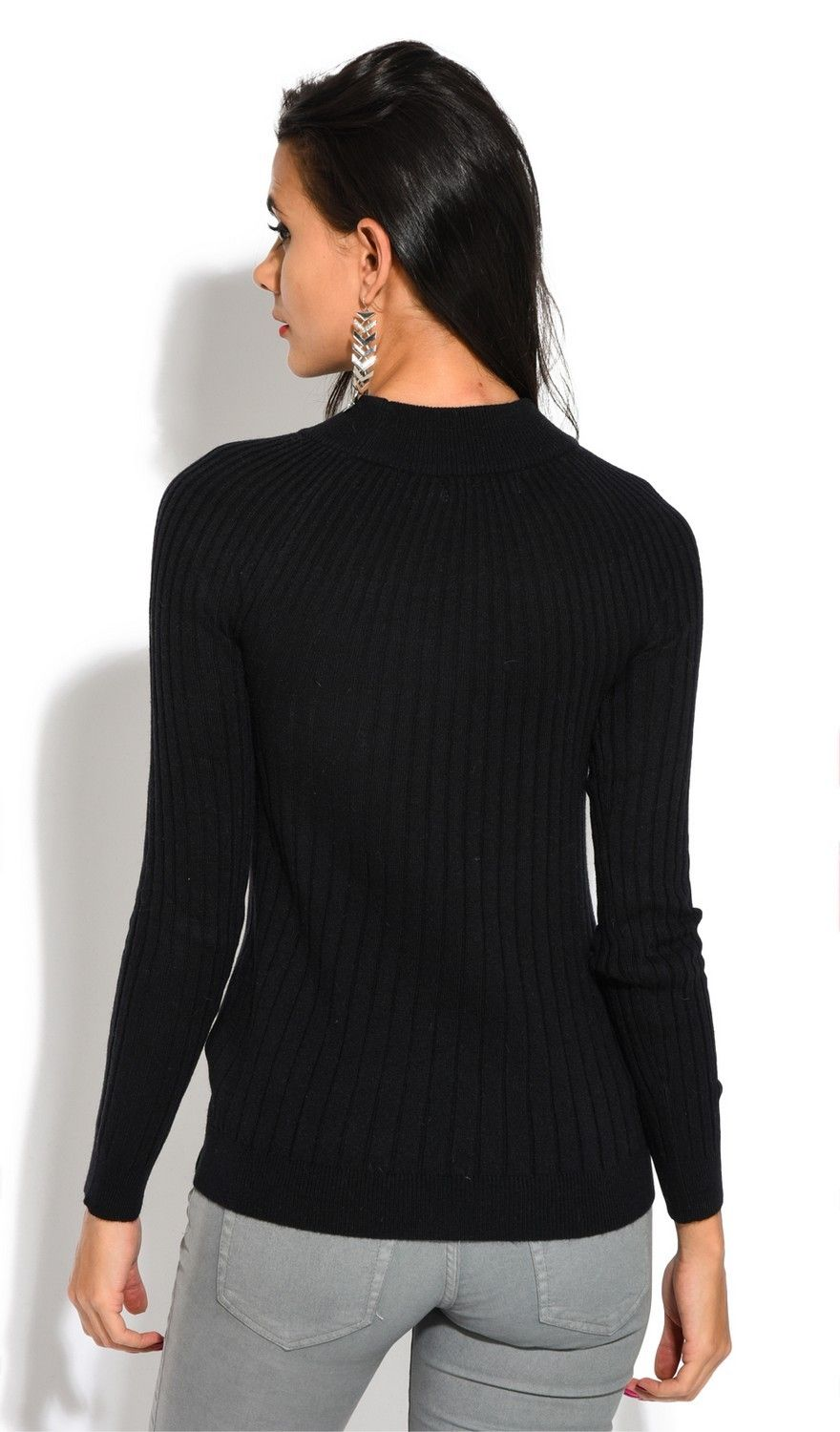 Assuili Funnel Neck Ribbed Sweater in Black