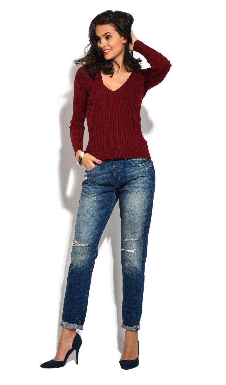 Assuili V-neck Long Sleeve Ribbed Sweater in Maroon