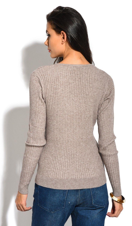 Assuili V-neck Long Sleeve Ribbed Sweater in Beige