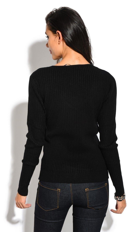 Assuili V-neck Long Sleeve Ribbed Sweater in Black