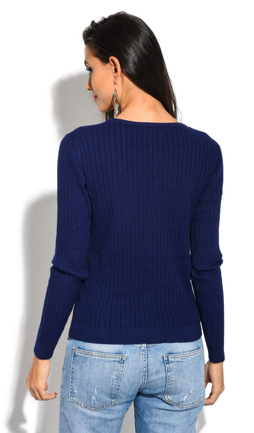 Assuili V-neck Long Sleeve Ribbed Cardigan in Navy