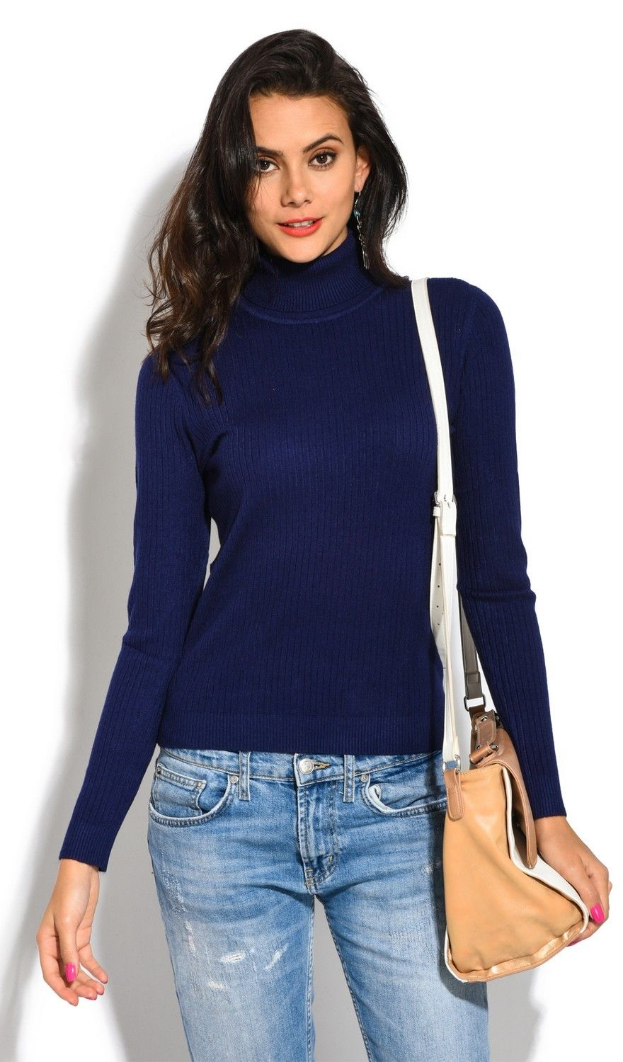 Assuili Roll Neck Long Sleeve Ribbed Sweater in Navy