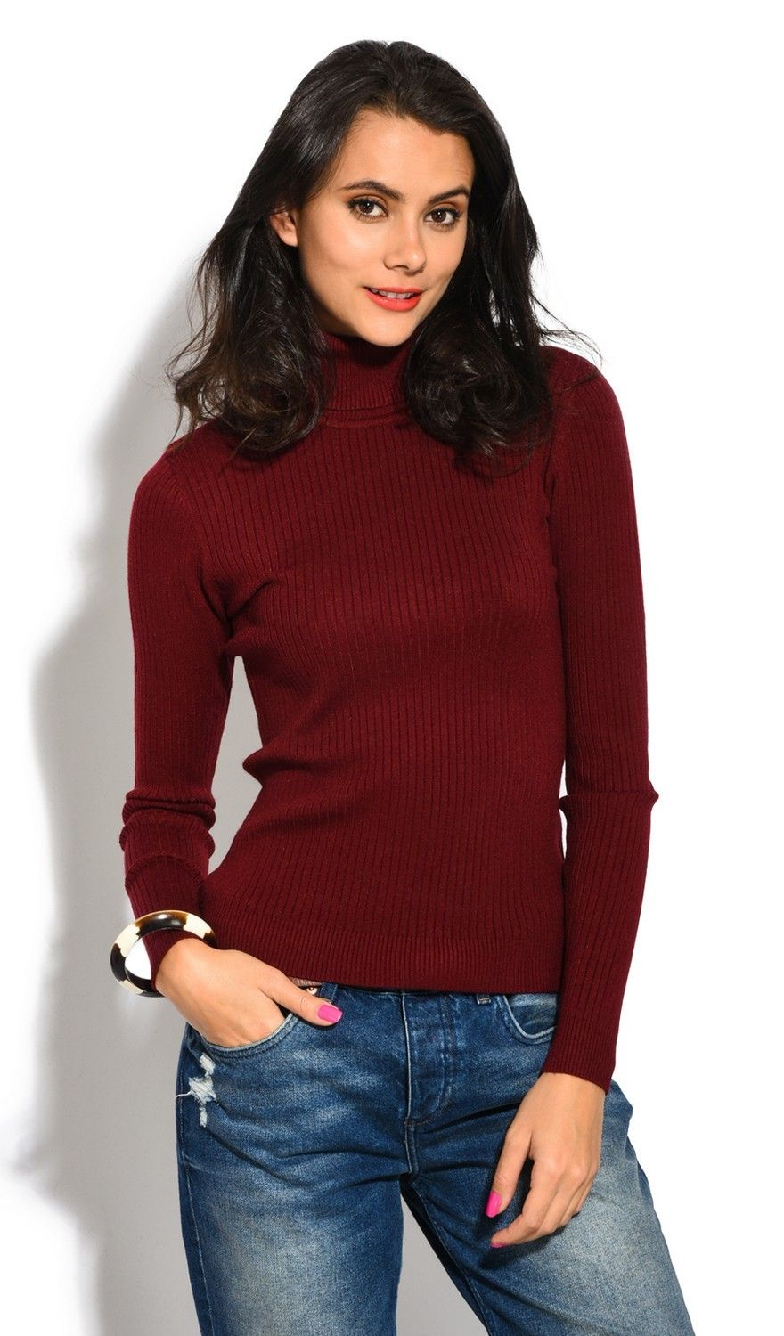 Assuili Roll Neck Long Sleeve Ribbed Sweater in Maroon