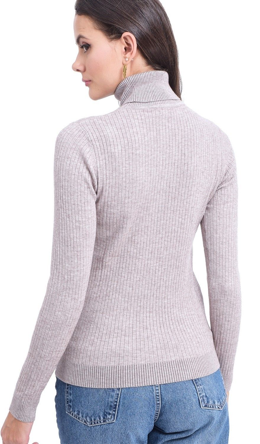 Assuili Roll Neck Long Sleeve Ribbed Sweater in Beige
