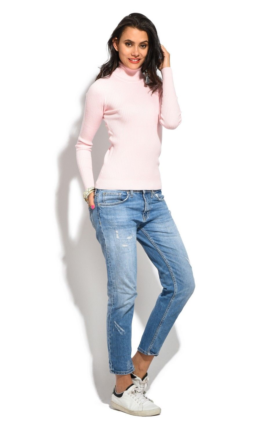 Assuili Roll Neck Long Sleeve Ribbed Sweater in Pink